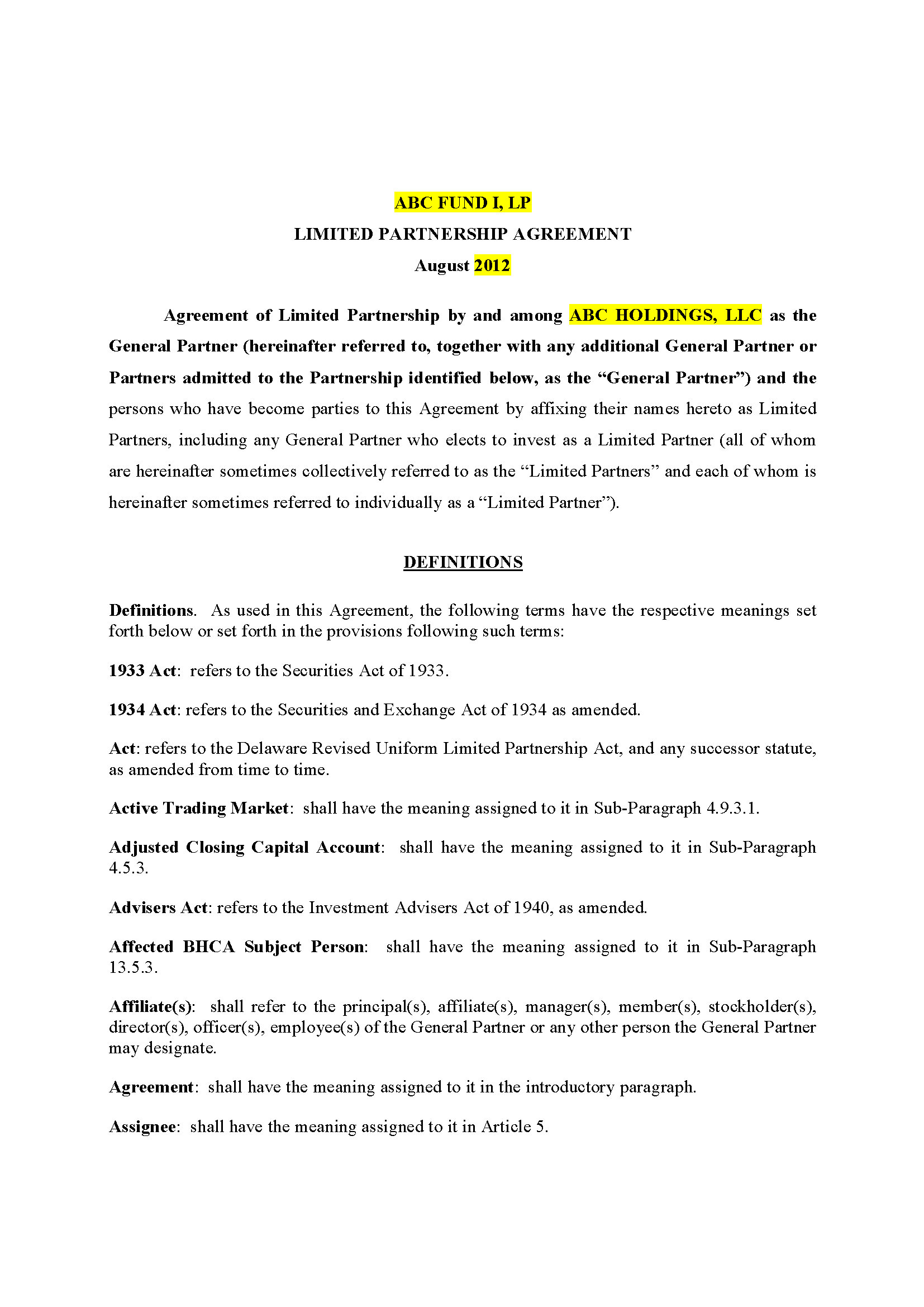 EB 5 Limted Partnership Agreement, California (35 pg)Private