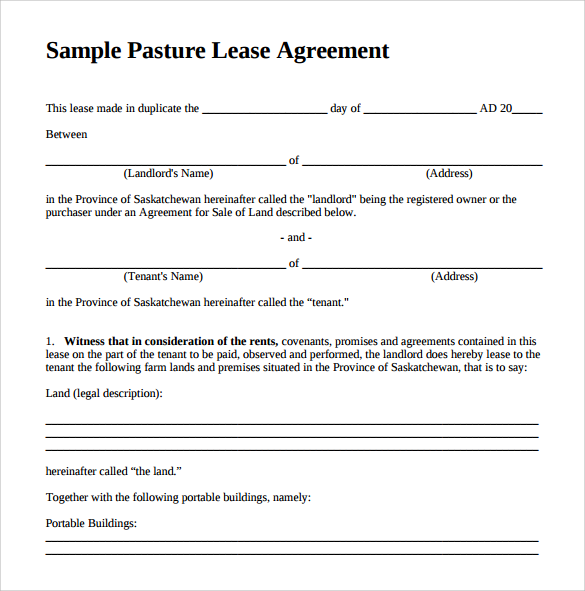 Pasture Lease Agreement Fill Online, Printable, Fillable, Blank