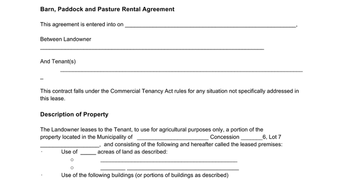 pasture lease agreement texas Forms and Templates Fillable