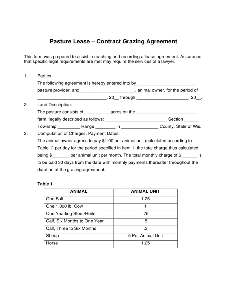 grazing lease agreement template writing a pasture lease contract