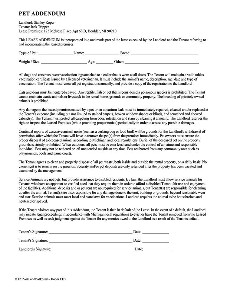 Pet Addendum | EZ Landlord Forms
