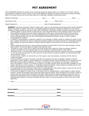 Fillable Online 121 Pet Agreement Apartment Owners Association