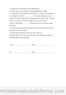 Free Pet Agreement Addendum to the Rental Agreement Printable Real
