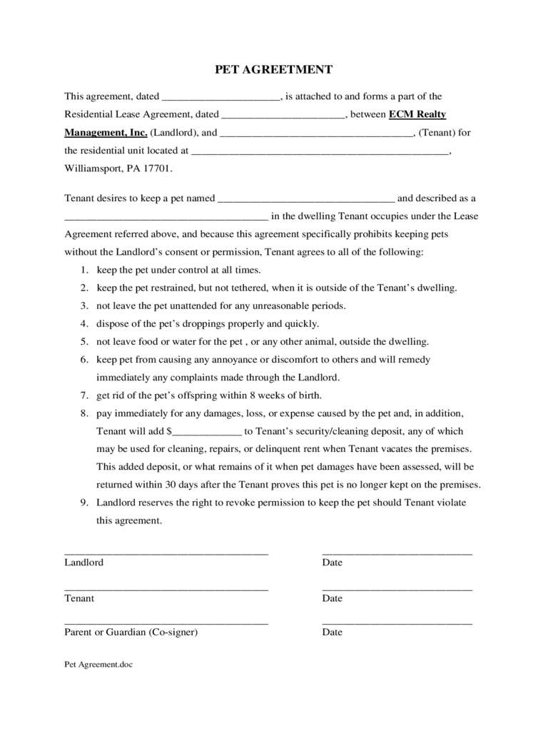 Agreement: Photos Of Pet Agreement Form. Pet Agreement Form