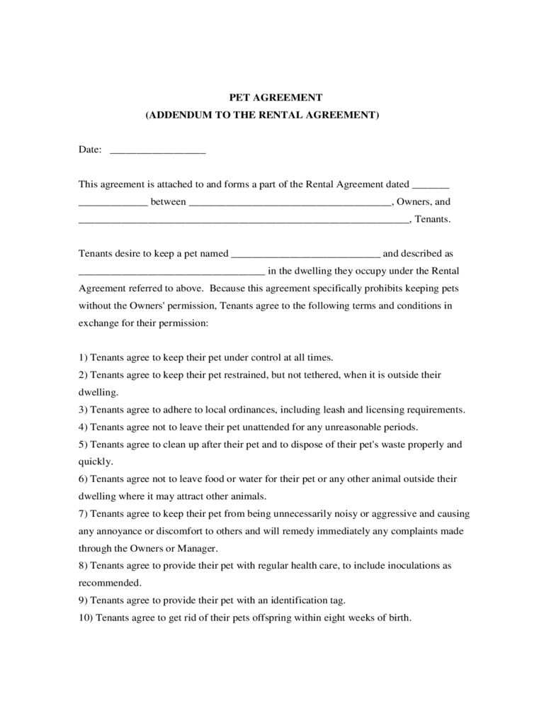 Agreement: Template Pet Agreement Form. Pet Agreement Form