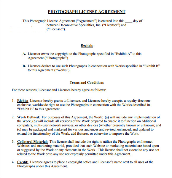 free license agreement template sample license agreement 7 example