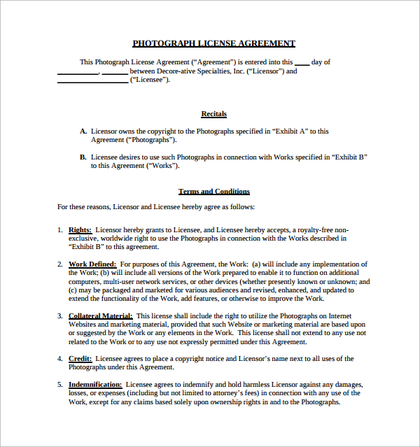 photograph license agreement template photography license
