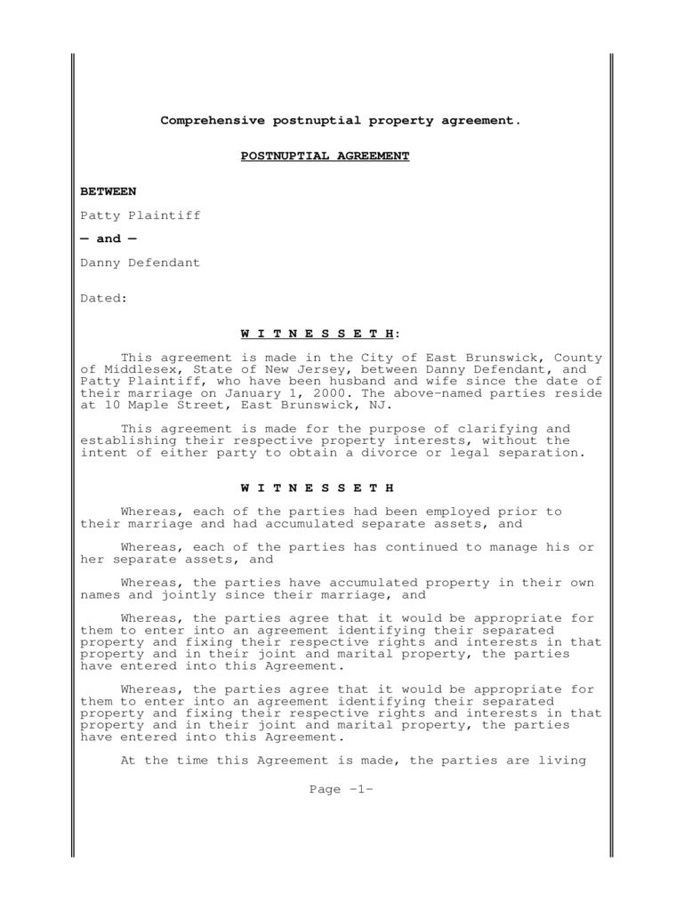 Postnuptial Agreement Form 3 Free Templates in PDF, Word, Excel