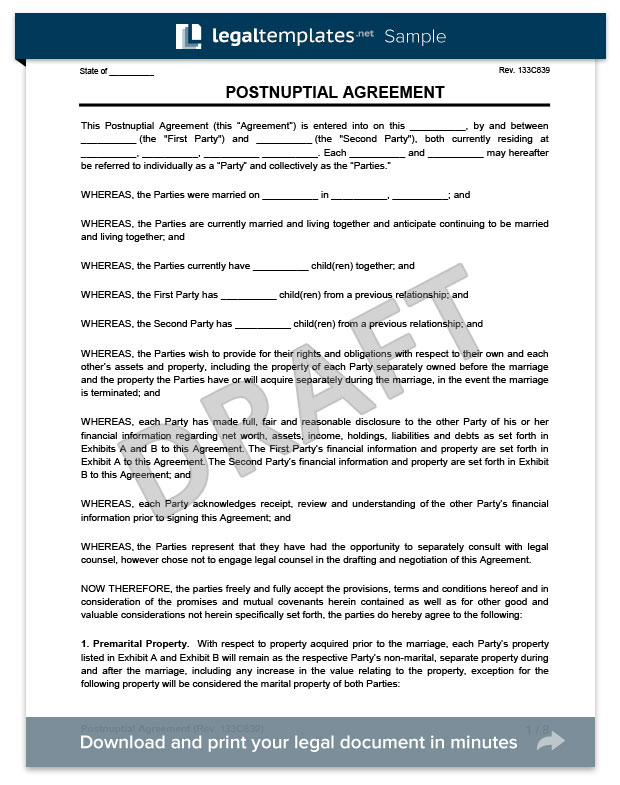 Postnuptial Agreement | Create a Free Postnup | LegalTemplates
