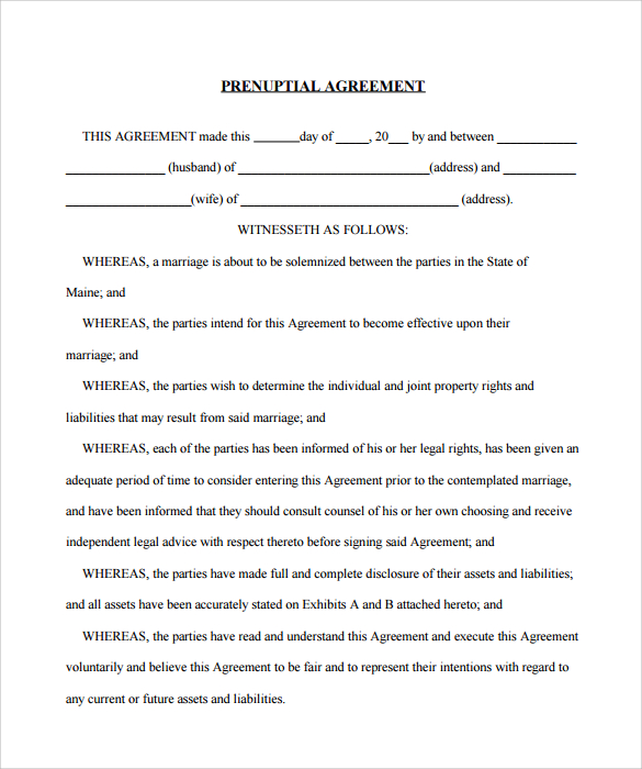 prenuptial agreement form template