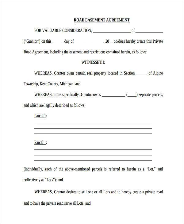 private road maintenance agreement form easement agreement