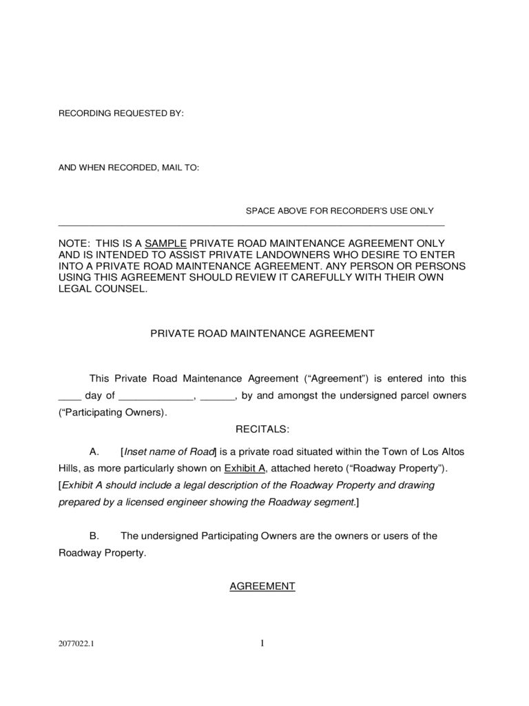 Road Maintenance Agreement Form 6 Free Templates in PDF, Word