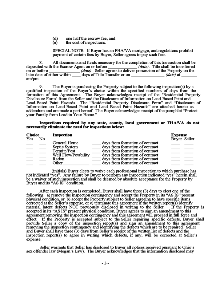 Home Purchase Agreement Template Ohio Schreibercrimewatch.org