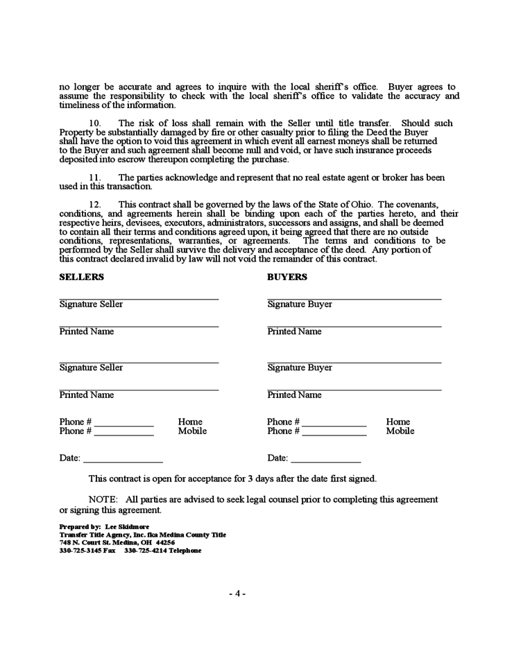 ohio home purchase agreement template purchase agreement for