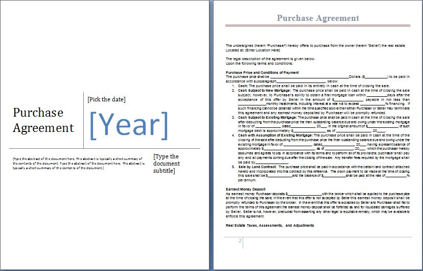 purchase agreement template word ms word purchase agreement form