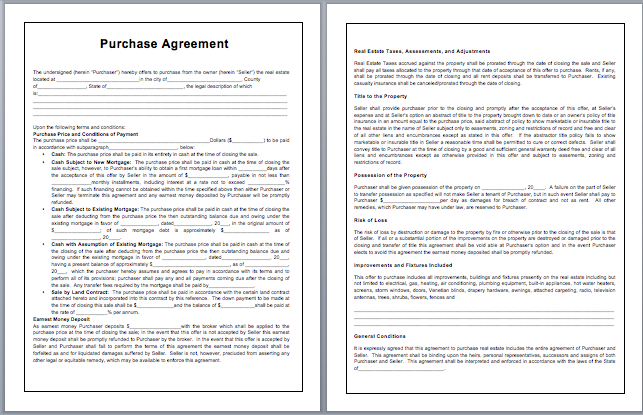 purchase agreement template word purchase contract template