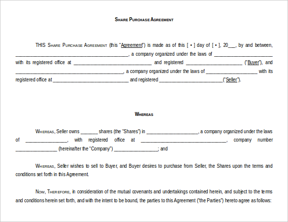 purchase agreement template word share purchase agreement template