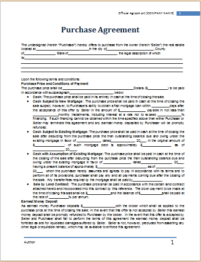 wholesale purchase agreement template free purchase agreement