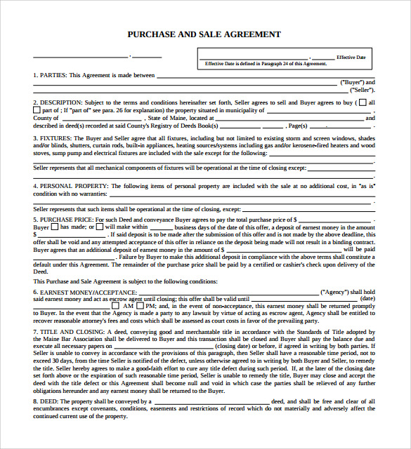 Bill Of Sale Form Maine Purchase And Sale Agreement Form Templates