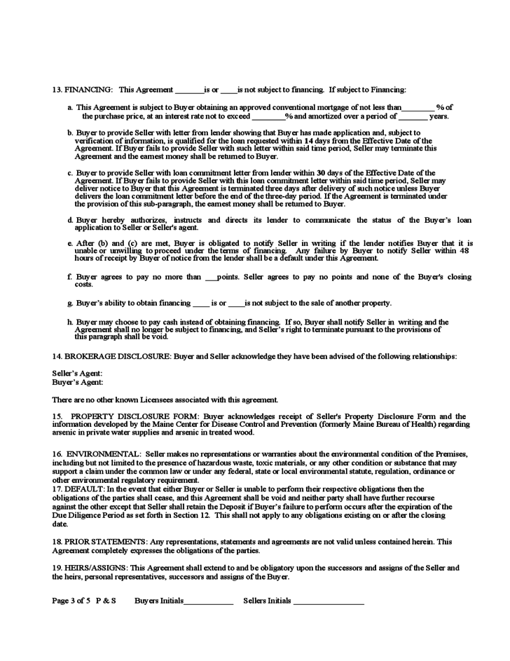 maine purchase and sale agreement template purchase and sale