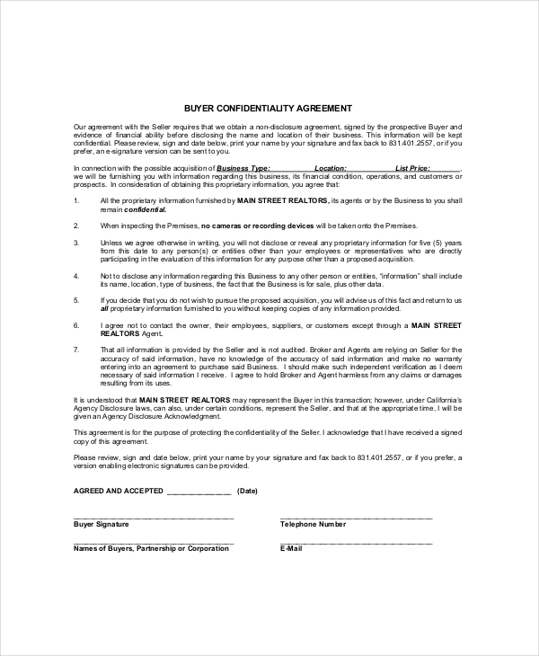 ndnc agreement template 9 real estate confidentiality agreement