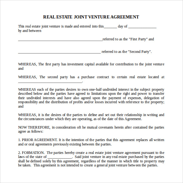 real estate partnership agreement template real estate partnership