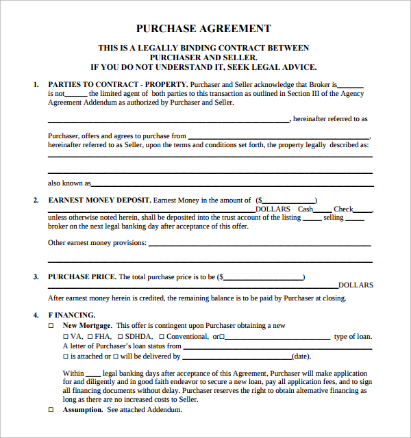 real estate agreement template purchase agreement contract