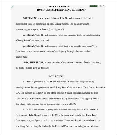 referral agreement template referral agreement templates 9 free