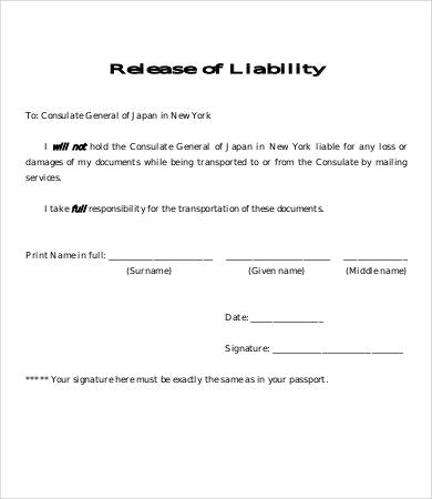 free liability release form template liability agreement template