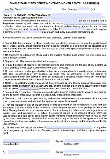Free Idaho Monthly Rental Agreement – PDF Template