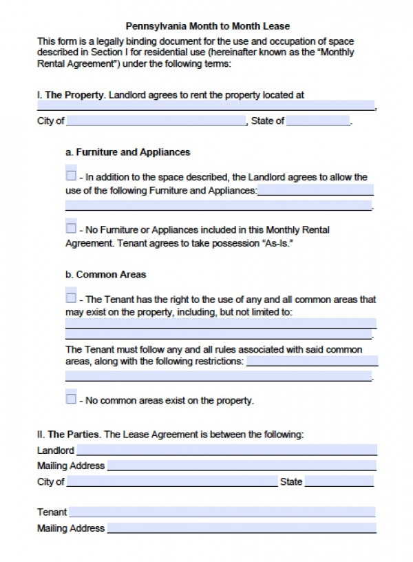 Free Pennsylvania Month to Month Lease Agreement | PDF | Word (.doc)