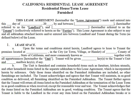 ca rental lease agreement templates california rental agreement