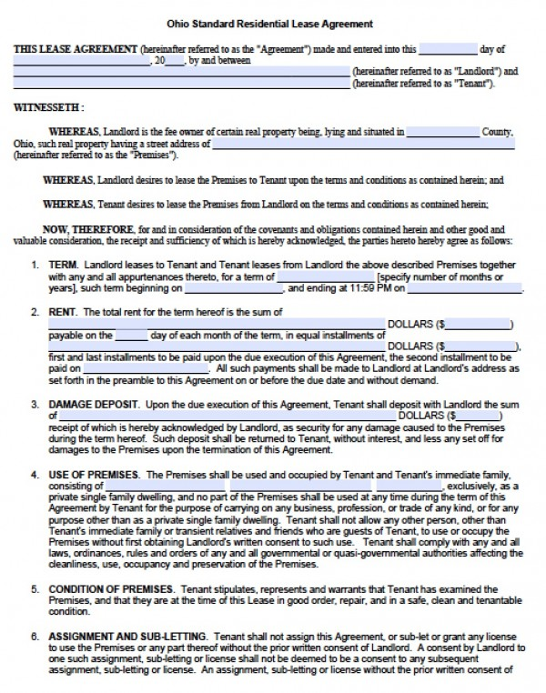 Free Ohio Residential Lease Agreement   PDF   Word (.doc)