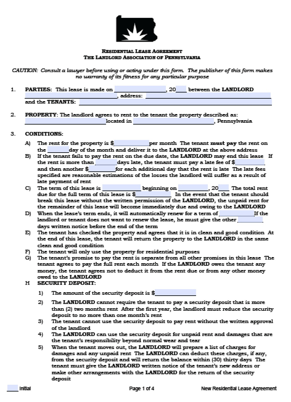 Free Pennsylvania Residential Lease Agreement | PDF | Word (.doc)