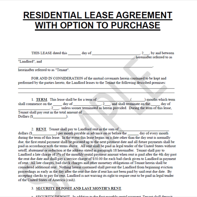Lease To Purchase Option Agreement Metierlink.com