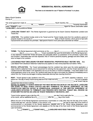 Residential Rental Agreement Form 410 Fill Online, Printable