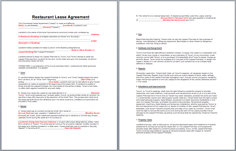 Restaurant Lease Agreement Template | business templates