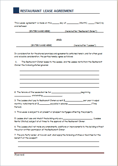 restaurant lease agreement template restaurant lease agreement