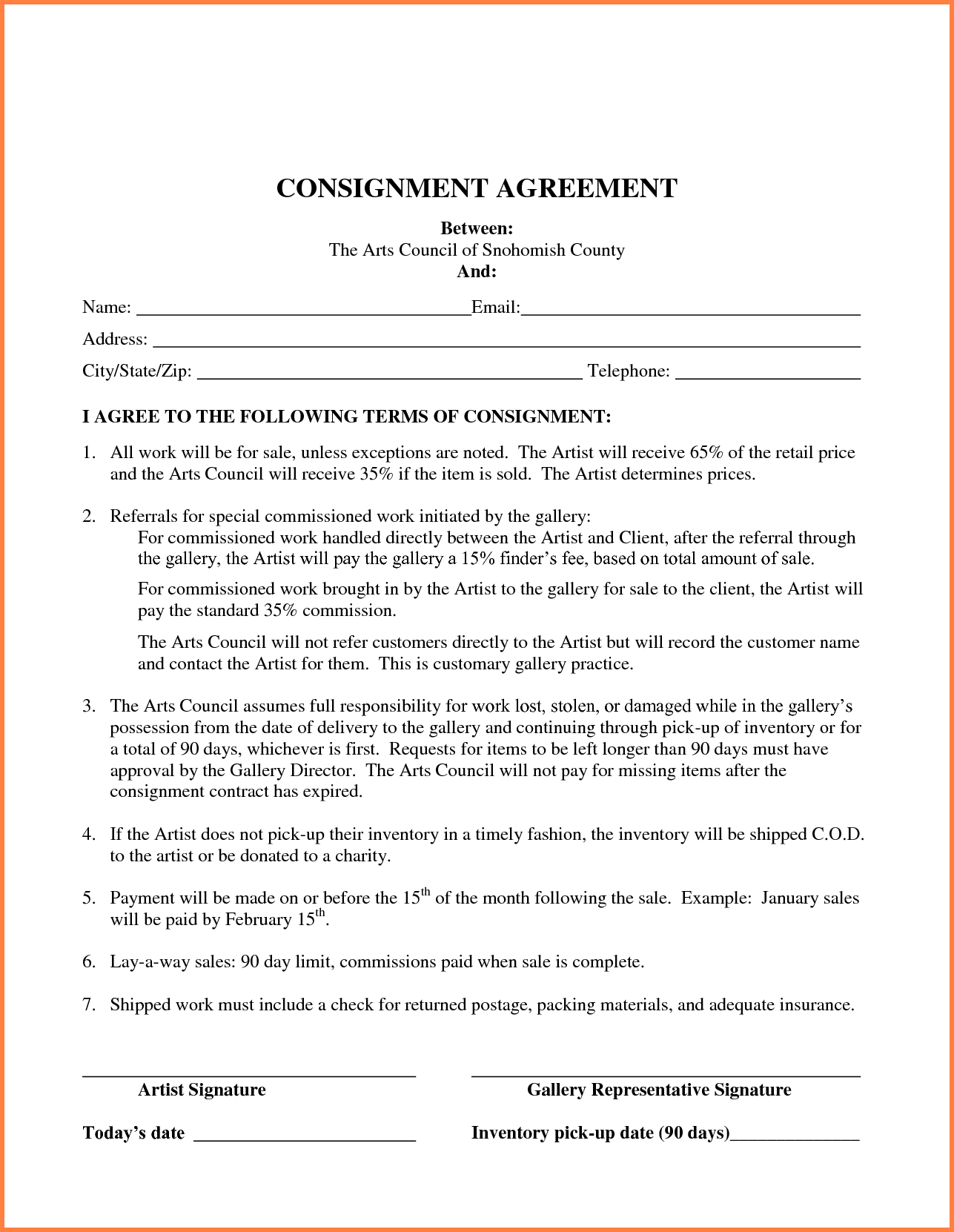Simple Business Contract Template Best Of Consignment Form
