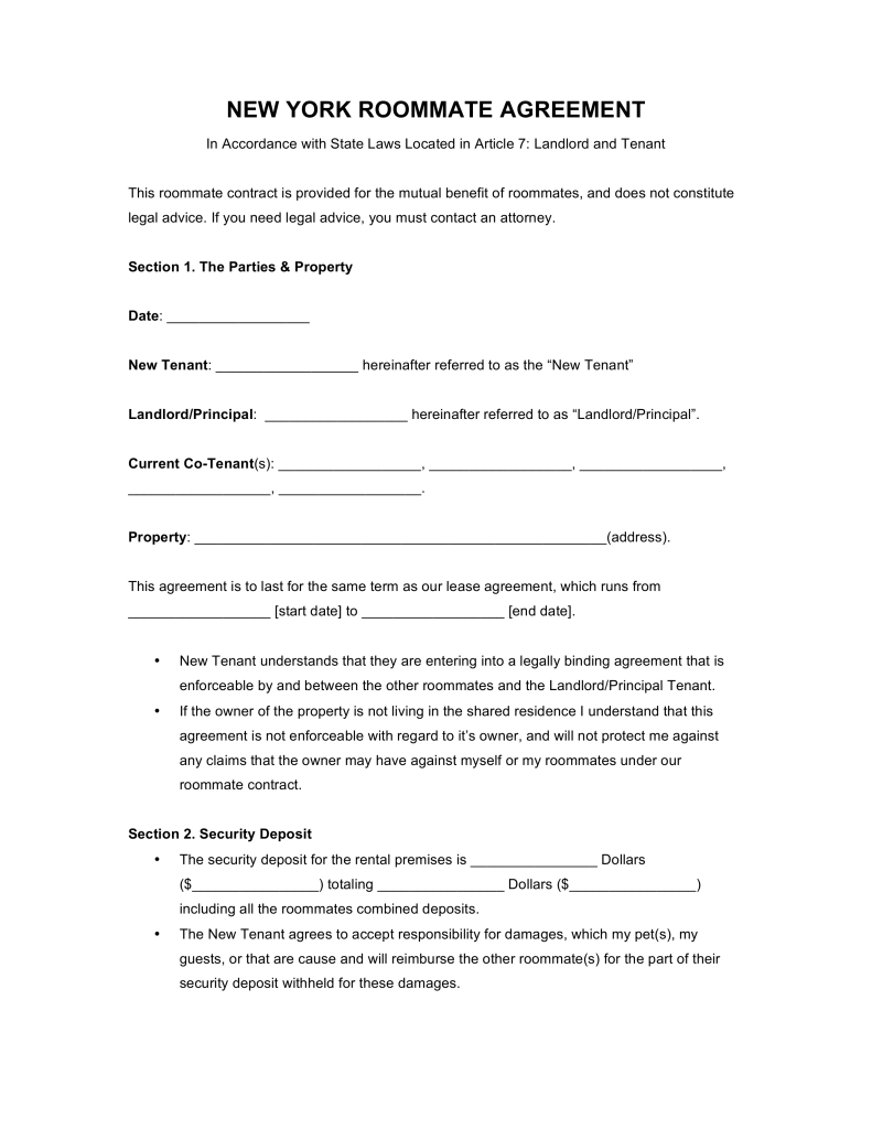 Free New York Roommate Agreement Form PDF | Word | eForms – Free