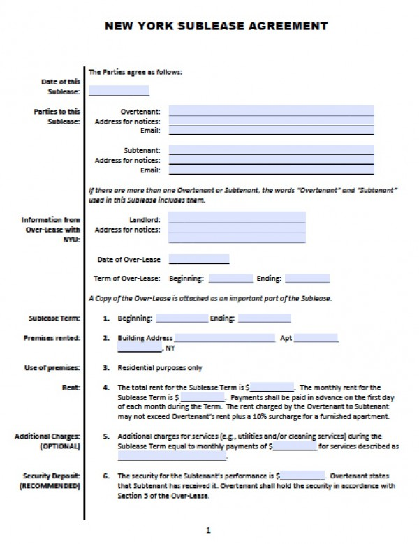 Free New York Sub Lease | Roommate Agreement | PDF | Word (.doc)