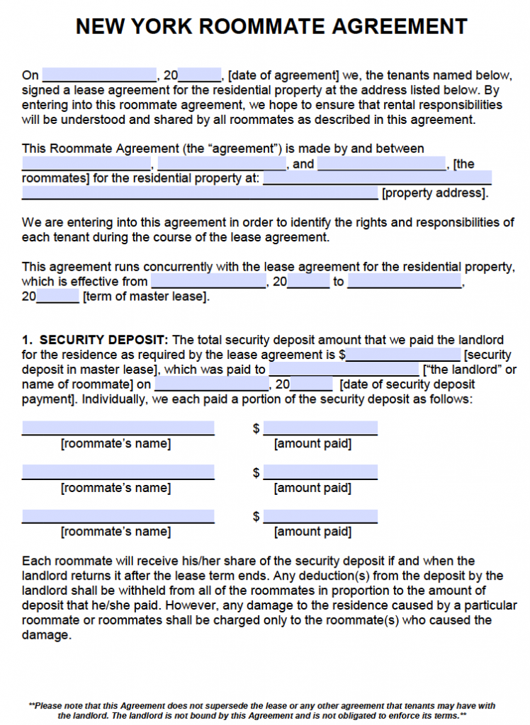 roommate agreement nyc template roommate agreementcontract create
