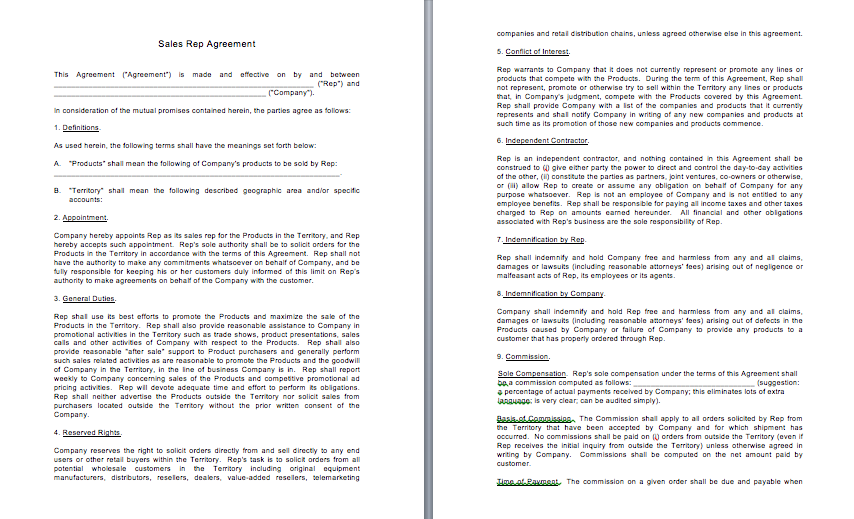 Sales Rep Agreement FAB Counsel