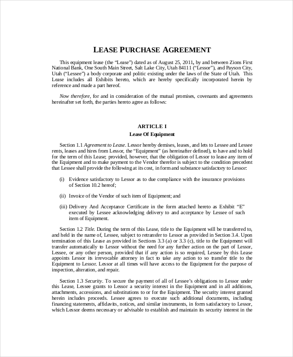 equipment lease purchase agreement template lease purchase