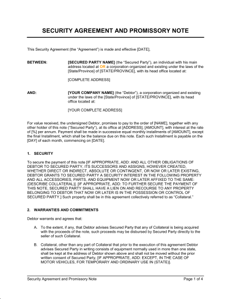 Security Agreement and Promissory Note Template & Sample Form