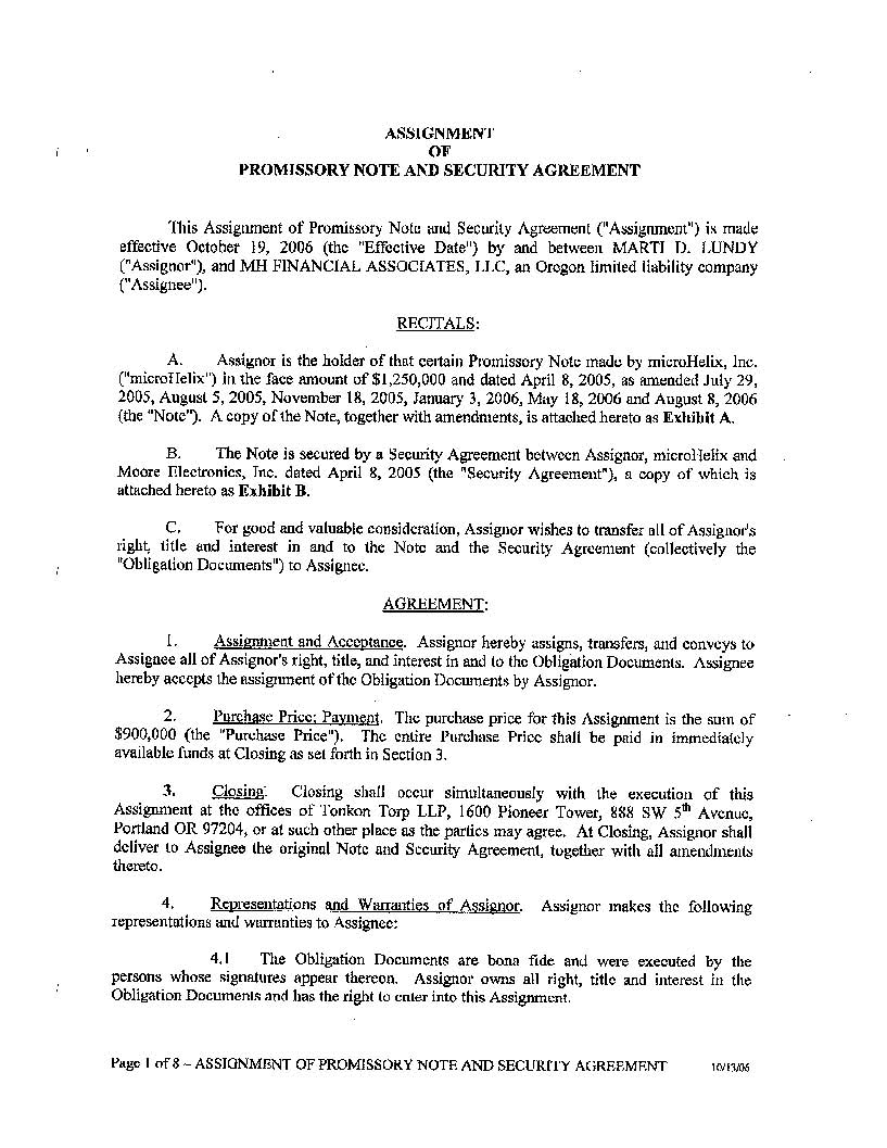 Assignment of Promissory Note and Security Agreement dated October