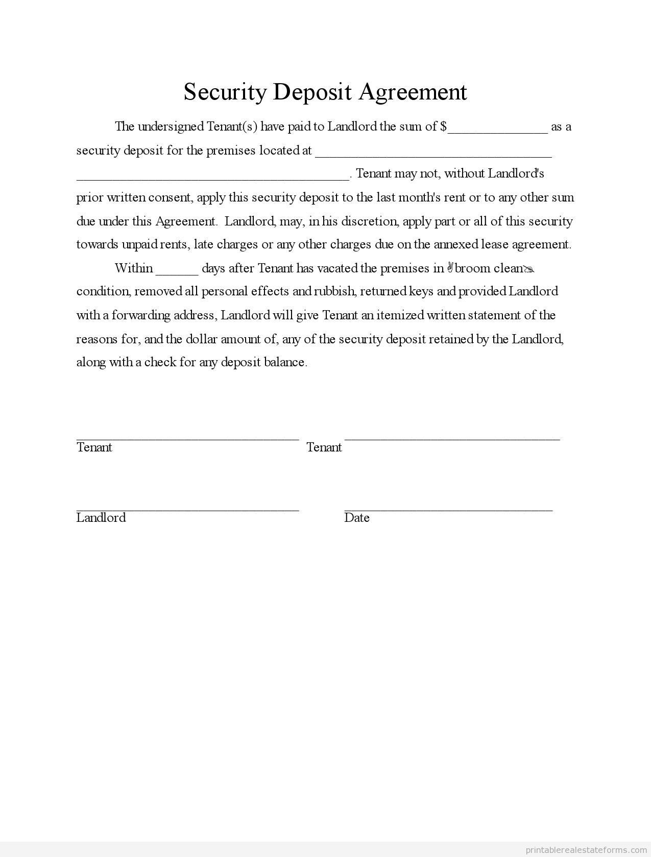 Sample Printable security deposit agreement Form | Sample Real