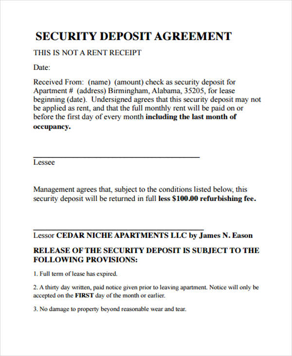 security deposit agreement template 39 agreement templates in pdf