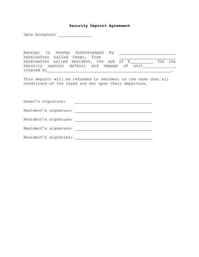 security deposit agreement template security deposit agreement