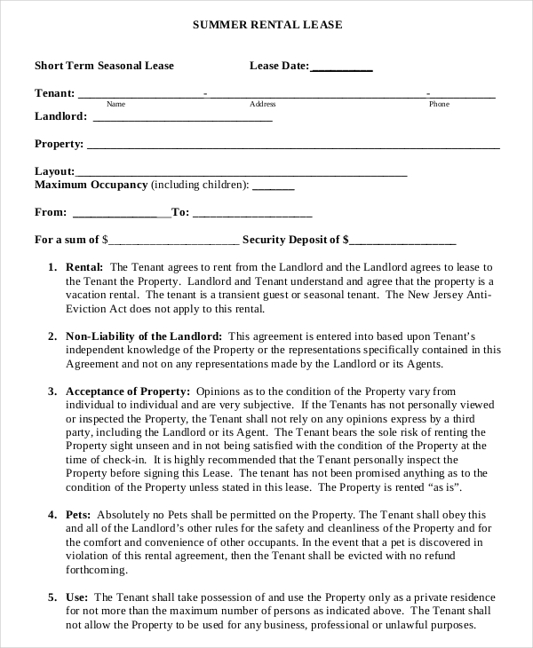 rental lease agreement template free informal lease agreement